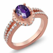 1.26 Ct Oval Checkerboard Purple Amethyst 18K Rose Gold Ring