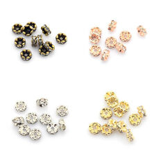 20pcs Brass Rhinestone Spacer Beads Wavy Edge Rondelle 6x3mm Crystal Jewelry DIY