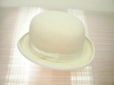 New 100% Wool Original Derby English Bowler Hard Top Events Hat Ivory