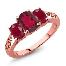 2.50 Ct Oval Red Mystic Topaz Red Ruby 18K Rose Gold Plated Silver Ring