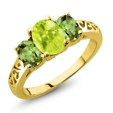 2.10 Ct Oval Yellow Lemon Quartz Green Peridot 18K Yellow Gold Ring