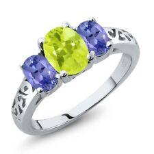 2.00 Ct Oval Yellow Lemon Quartz Blue Tanzanite 925 Sterling Silver Ring