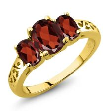 2.20 Ct Oval Red Garnet 18K Yellow Gold Plated Silver Ring