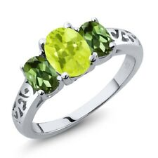 2.10 Ct Oval Yellow Lemon Quartz Green Tourmaline 18K White Gold Ring