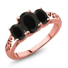 2.03 Ct Oval Black Onyx 18K Rose Gold Plated Silver Ring