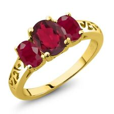 2.50 Ct Oval Red Mystic Topaz Red Ruby 18K Yellow Gold Plated Silver Ring