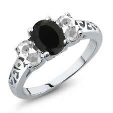2.25 Ct Oval Black Onyx White Topaz 925 Sterling Silver Ring