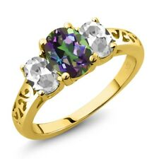 2.30 Ct Oval Green Mystic Topaz White Topaz 18K Yellow Gold Plated Silver Ring