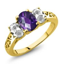 2.00 Ct Oval Checkerboard Purple Amethyst White Topaz 18K Yellow Gold Ring