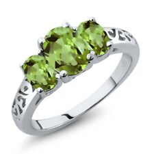 2.33 Ct Oval Green Peridot 925 Sterling Silver Ring