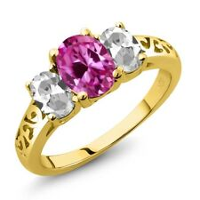 2.65 Ct Pink Created Sapphire White Topaz 18K Yellow Gold Plated Silver Ring