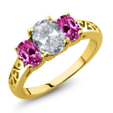 2.30 Ct White Topaz Pink Created Sapphire 18K Yellow Gold Plated Silver Ring