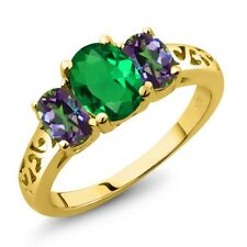 2.00 Ct Oval Green Simulated Emerald Green Mystic Topaz 14K Yellow Gold Ring