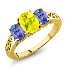2.20 Ct Oval Canary Mystic Topaz Blue Tanzanite 18K Yellow Gold Ring