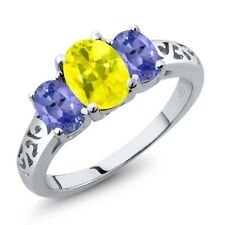 2.20 Ct Oval Canary Mystic Topaz Blue Tanzanite 18K White Gold Ring
