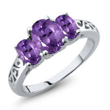 1.70 Ct Oval Purple Amethyst 925 Sterling Silver Ring