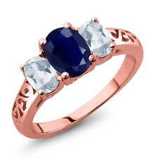 2.79 Ct Oval Blue Sapphire Sky Blue Topaz 18K Rose Gold Plated Silver Ring