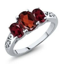 2.20 Ct Oval Red Garnet Red Rhodolite Garnet 925 Sterling Silver Ring
