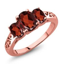 2.20 Ct Oval Red Garnet 18K Rose Gold Plated Silver Ring