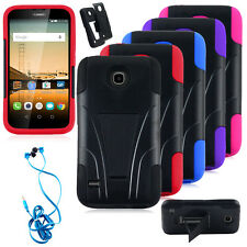 Hybrid Dual Layer Rubber Hard Armor Stand CaseCover + headset For Huawei Union
