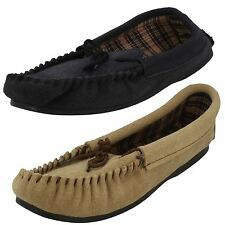 Mens Vamp Moccasin Insole Chequered Slippers