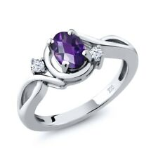 0.83 Ct Oval Checkerboard Purple Amethyst White Topaz 925 Sterling Silver Ring