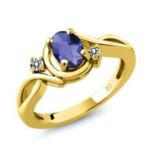 0.72 Ct Oval Checkerboard Blue Iolite White Diamond 18K Yellow Gold Ring