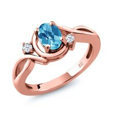 1.03 Ct Oval Checkerboard Swiss Blue Topaz White Topaz 18K Rose Gold Ring