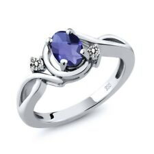 0.72 Ct Oval Checkerboard Blue Iolite White Diamond 925 Sterling Silver Ring