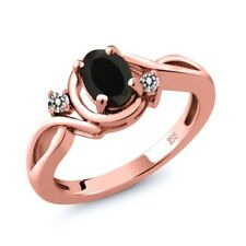 0.87 Ct Oval Black Onyx White Diamond 18K Rose Gold Plated Silver Ring