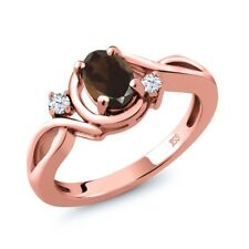 0.83 Ct Oval Brown Smoky Quartz White Topaz 18K Rose Gold Plated Silver Ring