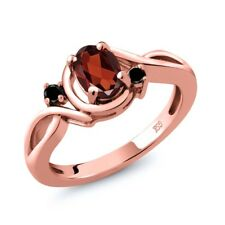0.97 Ct Oval Red Garnet Black Diamond 18K Rose Gold Plated Silver Ring