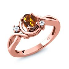 0.78 Ct Orange Red Madeira Citrine White Topaz 18K Rose Gold Plated Silver Ring
