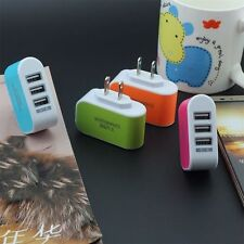 Triple USB Port Wall Home Travel AC Power Charger Adapter 3.1A EU Plug L#