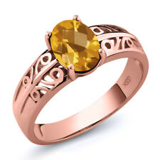 1.25 Ct Oval Checkerboard Yellow Citrine 18K Rose Gold Plated Silver Ring