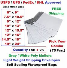 Pick Your Combo 75 (50+25) Poly Mailers Shipping Envelopes Plastic Mailing Bags