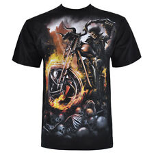 Spiral Direct Gothic Reaper Biker Top Goth Metal Tee Wheels Of Fire Black Tshirt