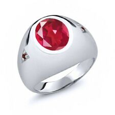 4.08 Ct Last Dance Pink Mystic Quartz Red Garnet 925 Sterling Silver Men's Ring