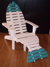 Oversized Poly Fish Adirondack Chair w/ Ottoman & Side Table Premium Amish Made