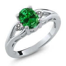 2.17 Ct Oval Green Simulated Emerald White Diamond 925 Sterling Silver Ring