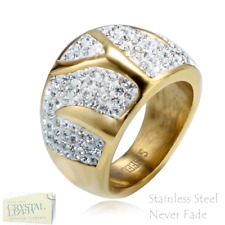 Swarovski Crystals Stainless Steel Brilliant Gold Plated Ring Size 6 7 8 9 O Q S