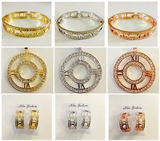 FASHION ROMAN NUMERAL NUMBERS IN BANGLES,NECKLACE W/ PENDANT & EARRINGS
