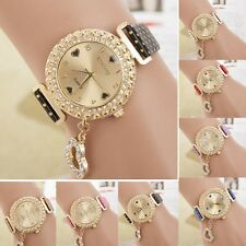 Fashion Women Bracelet Bangle Leather Crystal Dial Quartz Analog Wrist Watch ZWS