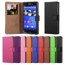 Sony Xperia M4 Aqua Premium Leather Wallet Flip Case Cover + Screen Protector