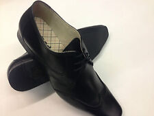 MENS LEATHER FORMAL SHOES BLACK POINTED  WORK WEDDING PARTY