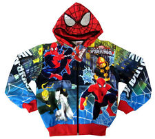 Boys ULTIMATE SPIDER-MAN vibrant hooded sweatshirt jacket Size S-XL Age 8-13 yrs