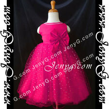 #SB9 Flower Girl Wedding Pageant Formal Gowns Dresses Fuchsia 0 1 2 3 4 5 Years