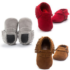 Suede Leather Baby Girl Boy Toddler Infant Tassel Moccasins Shoes 0-18M Fashion