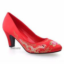 Ladies High Heel Wedding Shoes Chinese Bride Embroidered Peony Floral Court Red