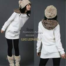 Women Autumn Winter Hoodies Leopard Sweatshirt Outerwear Jacket Coat Jumper Tops